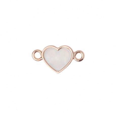 Médaille oui merci ref MC400003, rond et coeur nacre blanche 10mm