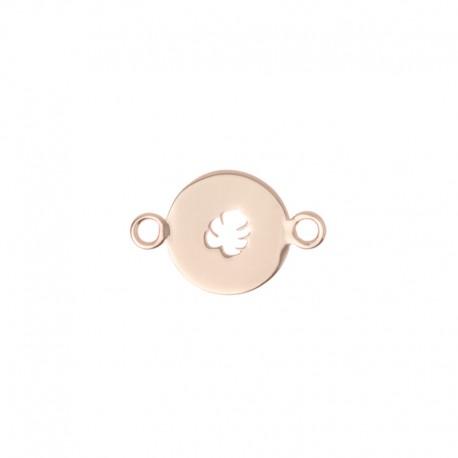 Médaille oui merci ref MC400005,rond feuille monstera 10mm