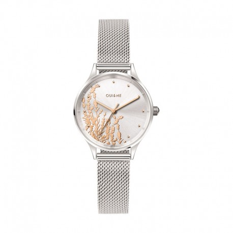 MINETTE 28MM 3H SILVER DIAL MESH BR SS