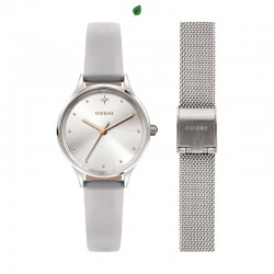 MINETTE 28MM 3H SILVER DIAL GRAY STRAP