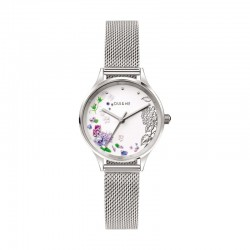 MINETTE 28MM 3H WHI FLOW DIAL MESH BR SS